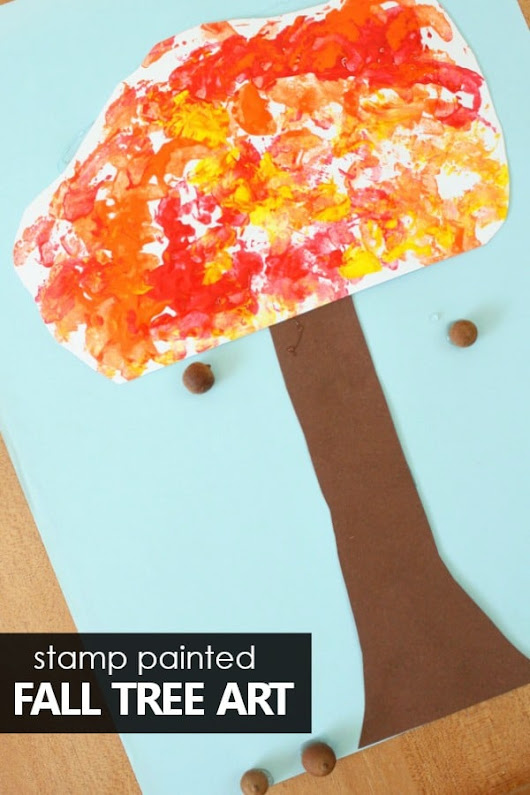 Stamped Fall Tree Craft for Kids - Fantastic Fun & Learning