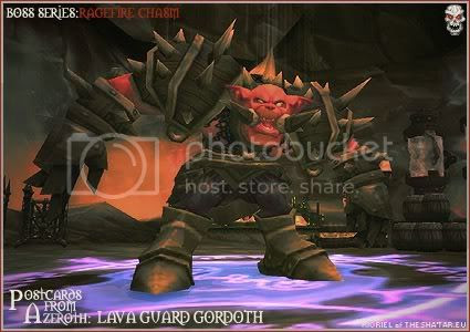 Rioriel and Nevik's daily World of Warcraft screenshot presentation of significant locations, players, memorable characters and events, assembled in the style of a series of collectible postcards. -- Postcards from Azeroth BOSS SERIES: Lava Guard Gordoth