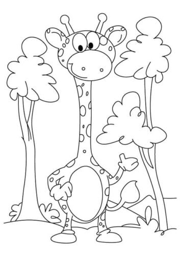Cute Giraffe Coloring Pages For Kids Drawing With Crayons