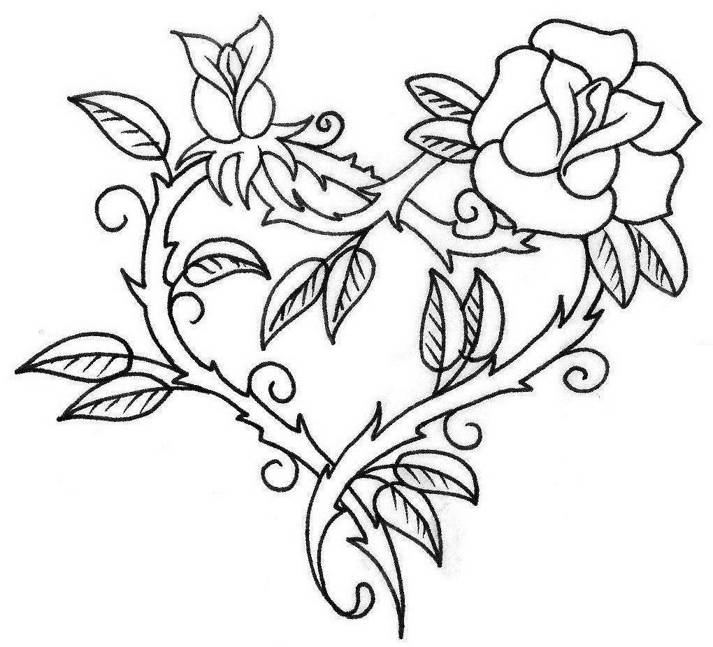 Outline Rose Tattoo Design