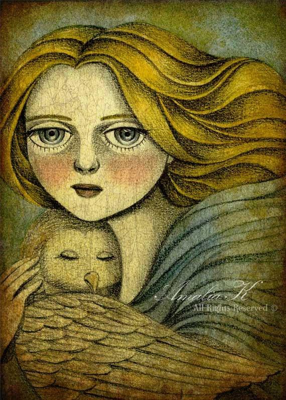 Print of Original Illustration, Whimsical Angel Owl Illustration - The Guardian by Amalia K 5x7 - TheWishForest