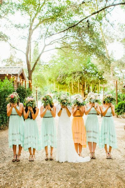 Your maid of honor is one special lady .. one way to showcase that is having her wear a different color than your bridesmaid❤