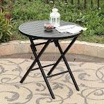 PHI VILLA Large Patio Metal Portable Round Folding Bistro Table