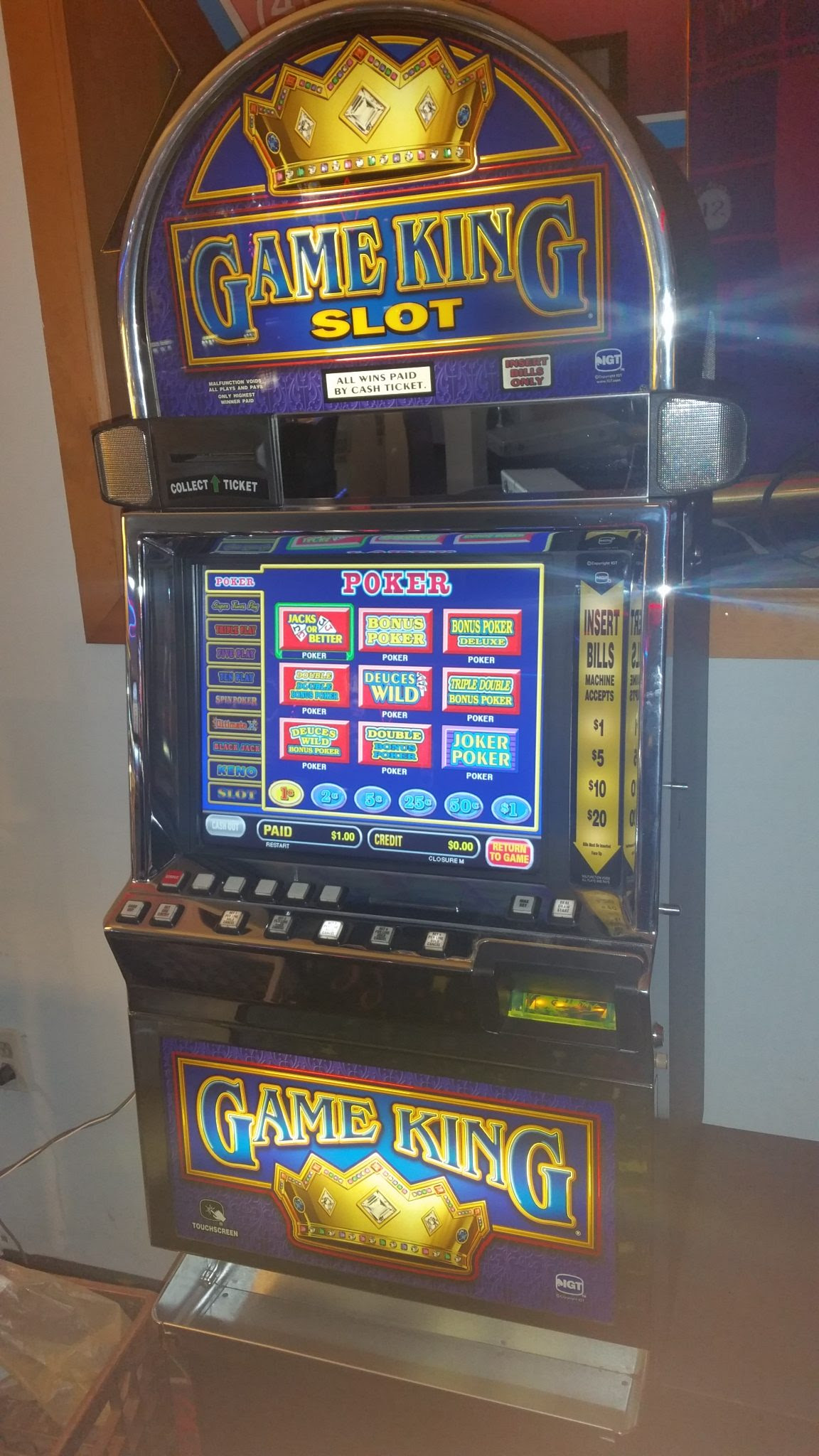 USED SLOT MACHINES.Used Slot Machines, refurbished slots and video poker machines.Spring Cleaning Were Offering IGT 17 Inch Gameking 31 Game $ or Video slot Machine.Best Prices Out There.Lots Of Machines In Stock.All Slot Machines Come With A Year Warranty Life Time Tech Support.All Slot Machines Are Various Colors From Casino.
