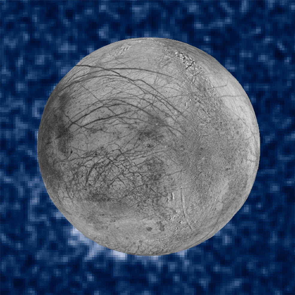 Composite image of Europa superimposed on Hubble data