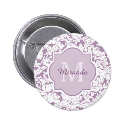 Modern Purple Floral Girly Monogram With Name Button