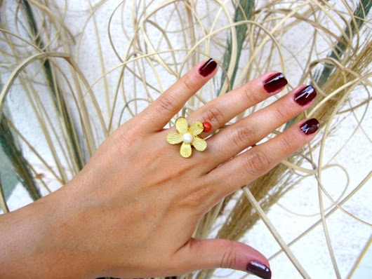 goldplated ring autumn ring flower ring fashion by INDAJEWELLERY