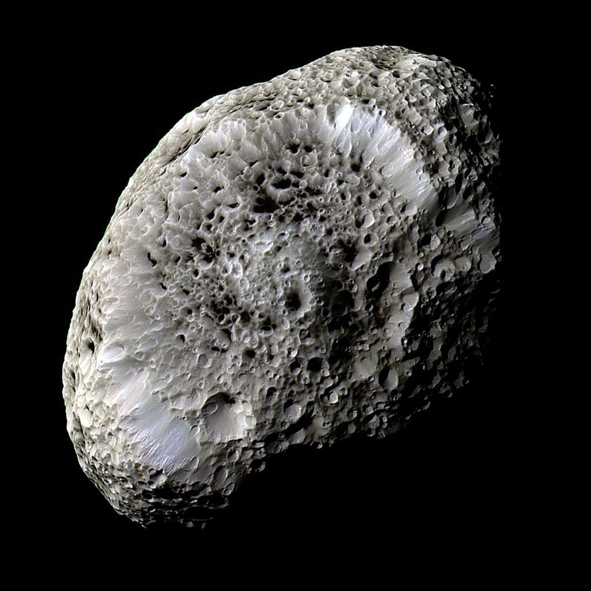 ...And pockmarked Hyperion.