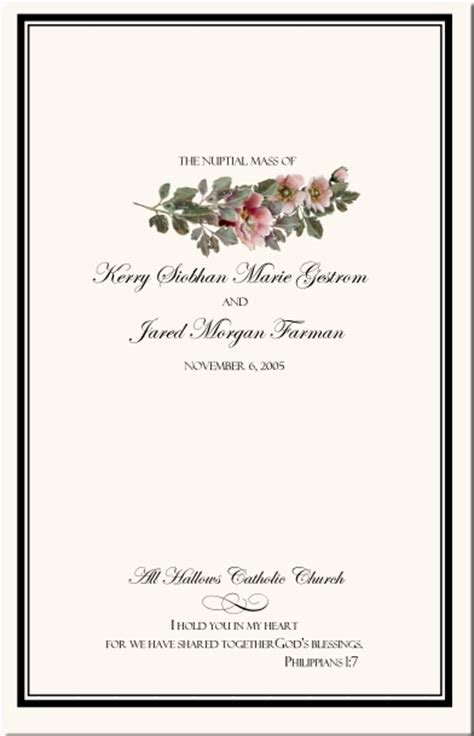 Rose Wedding Program Examples Wedding Program Wording