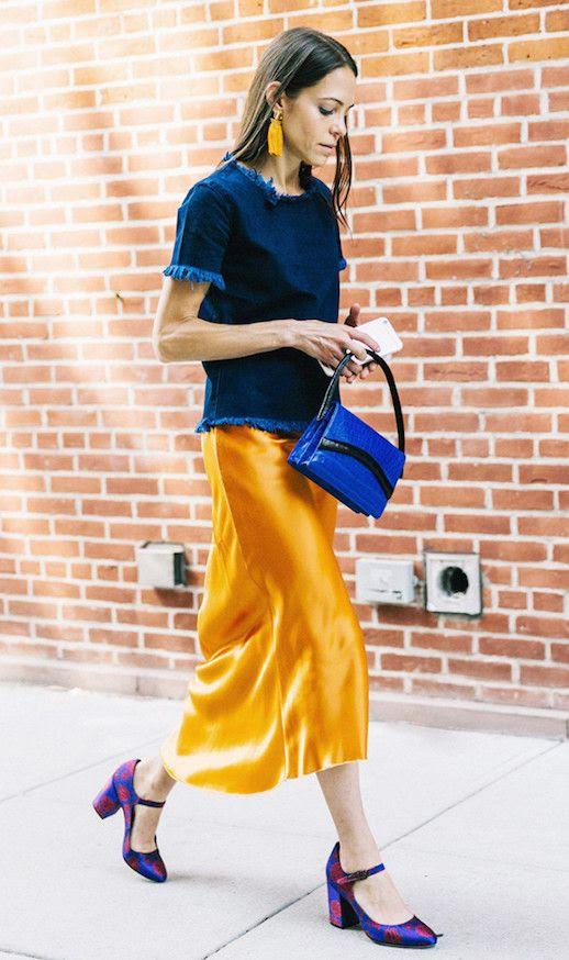 Le Fashion Blog Boxy Denim Raw Hem Top Orange Silk Slip Dress Patterned Heels Via Who What Wear