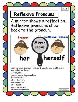reflexive pronouns anchor chart  interactive notebook  carbos class