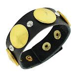 Faux Black Leather Yellow Gold-Tone White CZ Wristband Wrap Bracelet