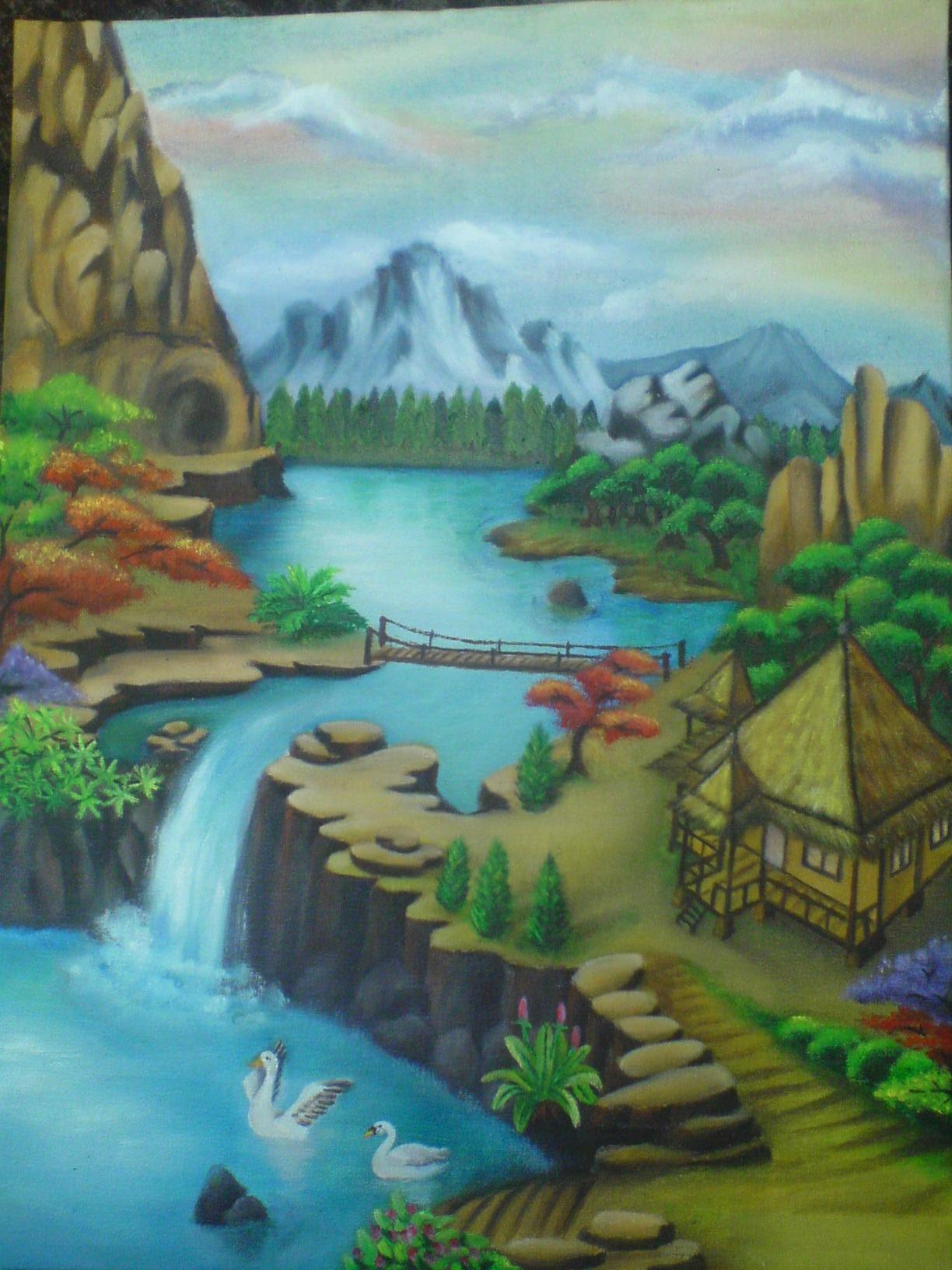 Lukisan Alam Menggunakan Cat  Air  Koleksi Gambar HD