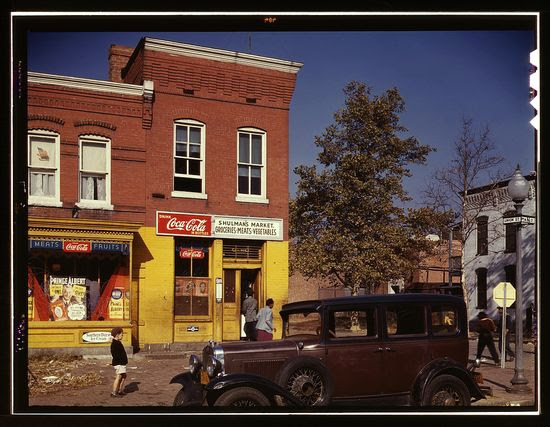 Louise Rosskam Car in front of Shulmans Market on N at Union St SW Washington DC 1941 1942