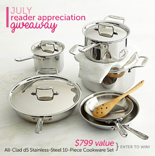 Win a $799 All-Clad 10-pc Stainless Steel Cookware set! USA/CAN #giveaway #sweepstakes | DearCrissy.com