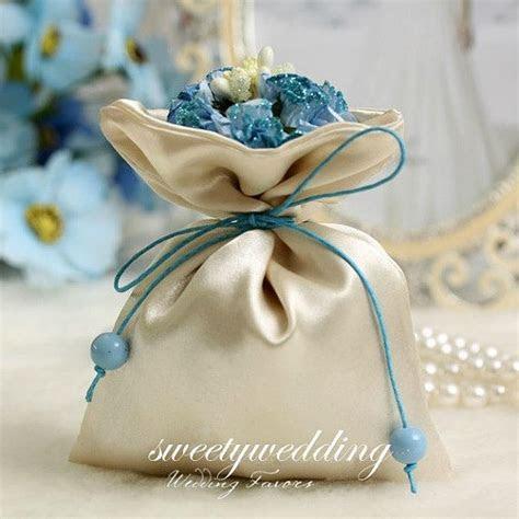 50pcs Handmade Fabric Wedding Favor bags with blue flower