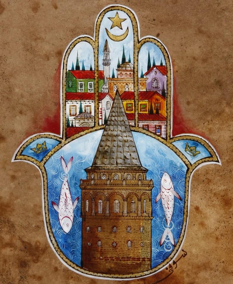 Galata Kulesi Ve Fatmanın Eli Hamsa Minyatür Ofis Taner