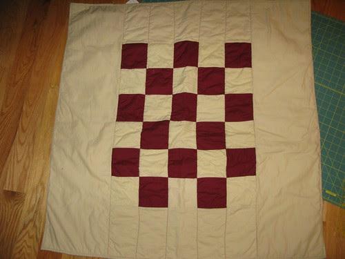 Burgundy, Khaki quilt