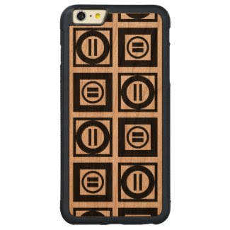 Black and White Geometric Equal Sign Pattern Carved® Cherry iPhone 6 Plus Bumper Case