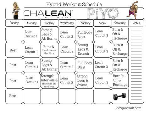 chalean extreme piyo hybrid workout  week plan