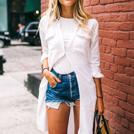 Le Fashion Blog Blogger Style Layers White Shirtdress Ribbed Tee Shirt Cut Off Denim Shorts Suede Camel Tote Bag Via Jannie Deler