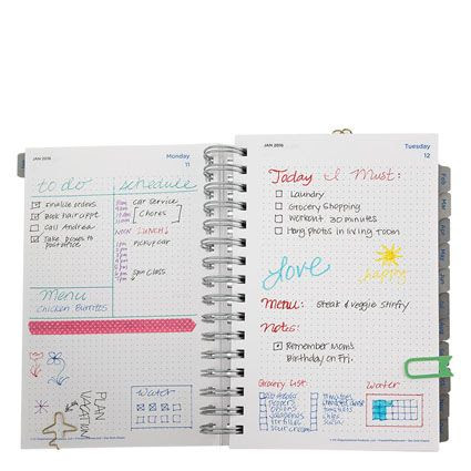 Classic Dot Grid Wire-bound Daily Planner - Jan 2016 - Dec 2016 ...