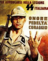 German-Italian propaganda poster from WW2 with Italian soldier making or nearly making a rude gesture
