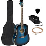 Best Choice Products 41in Full Size All-Wood Acoustic Guitar Starter Kit w/ Case, Pick, Strap, Extra Strings - Blue