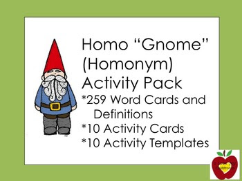 Homonym Word Cards and Activity Pack (Gnome)