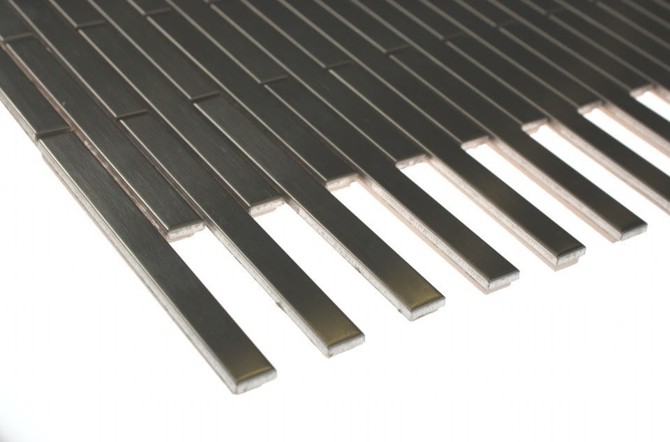 Shop 12x12 Metal Stick Brick Tiles in Matte Silver Stainless Steel ...
