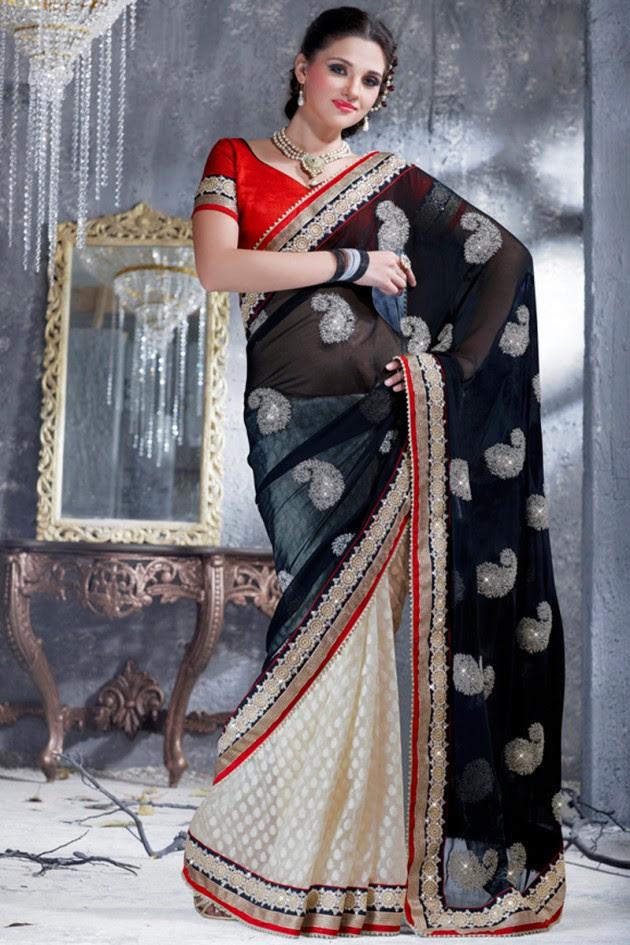 Indian-Brides-Bridal-Wedding-Party-Wear-Embroidered-Saree-Design-New-Fashion-Reception-Sari-4