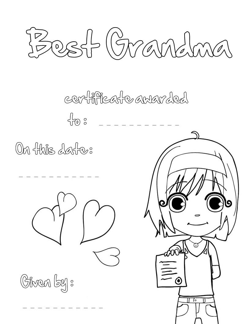 Best grandma certificate coloring pages - Hellokids.com