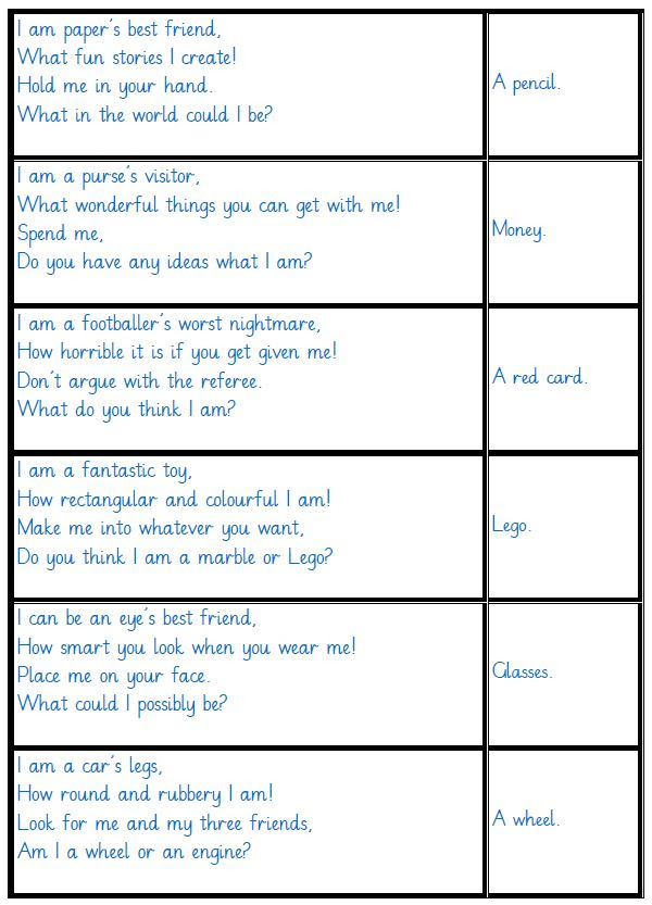 Idea 265: FREE 'All 4 Sentence Types' Riddle Poems: 32 ...