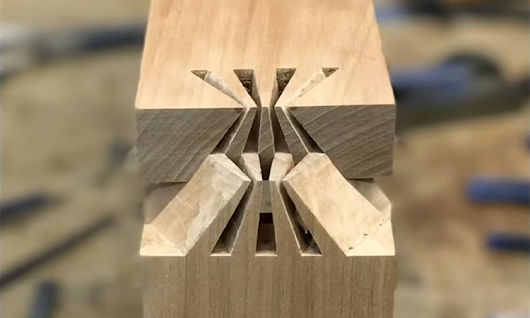 Woodworking Teacher Creates a Beautiful Japanese Sunrise Dovetail Joint That Perfectly Fits Together