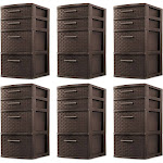 Sterilite 4 Drawer Organizer Storage Tower with Medium Weave, Brown (6 Pack) at Spreetail (VMinnovations   VM Express)