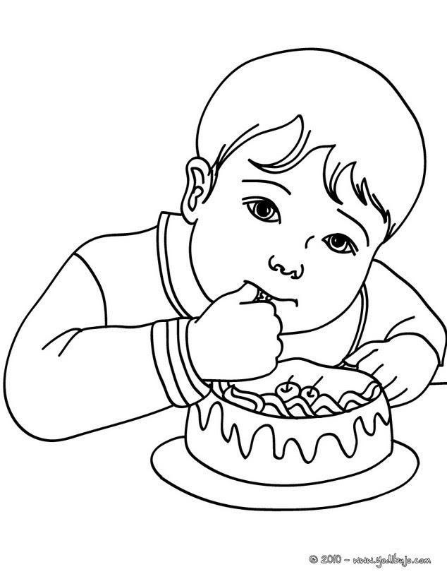 Dibujos Para Colorear Niño Comiendo Pastel De Cumpleaños Es