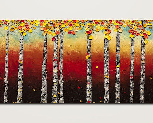 Autumn Birch trees Modern Contemporary Abstract Painting - Landscapes by Carmen Guedez