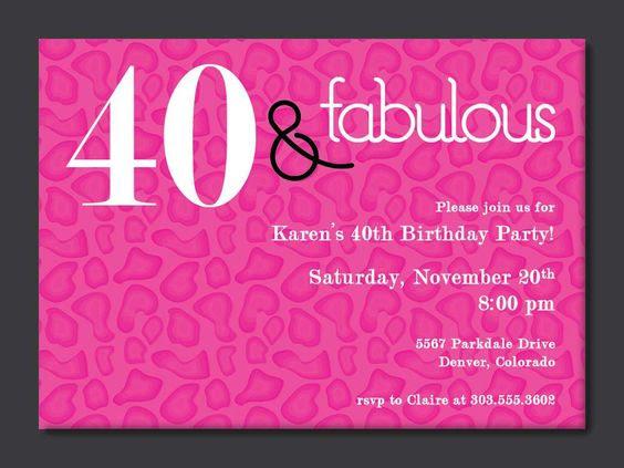 40th Birthday Free Printable Invitation Template   Birthday party ...