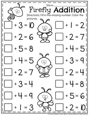 Cute Firefly Addition Worksheets for Kindergarten Fill in the missing Addend