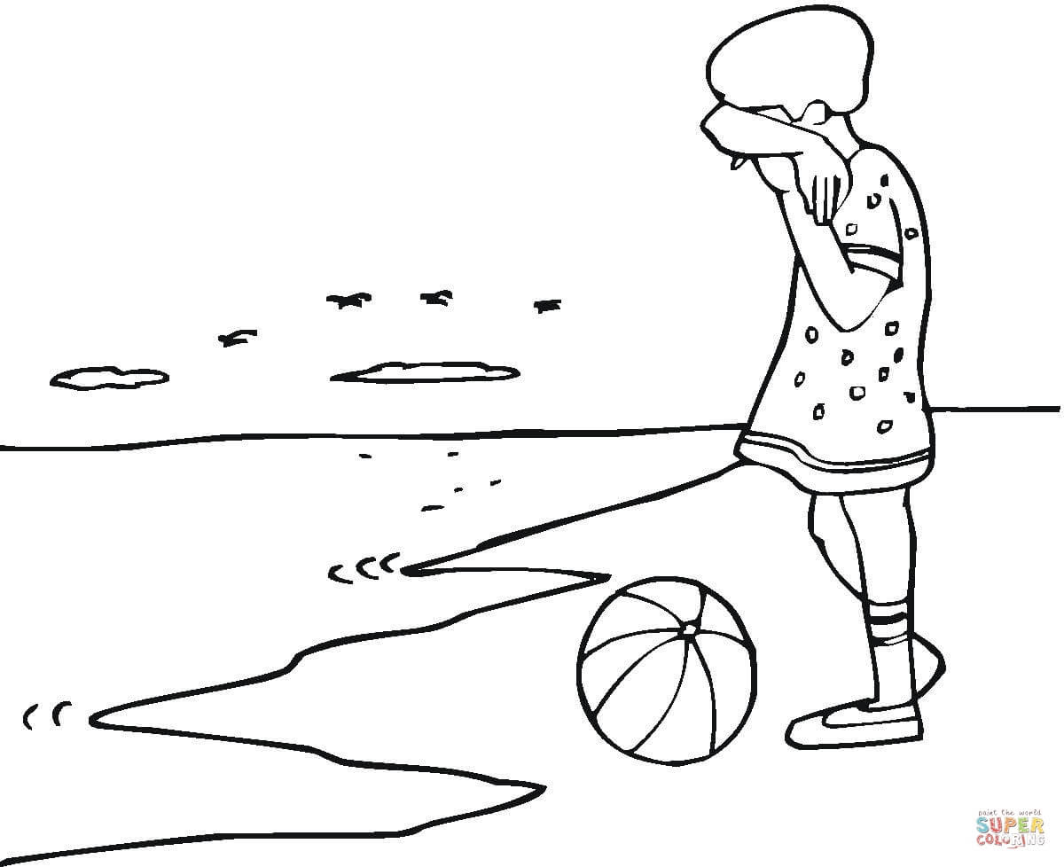 Dibujo De Nina Triste En La Playa Para Colorear Dibujos Para