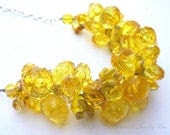 Chunky Yellow Necklace, Yellow Beaded Wire Crochet, Bridal Statement Necklace, Spring Wedding Jewelry