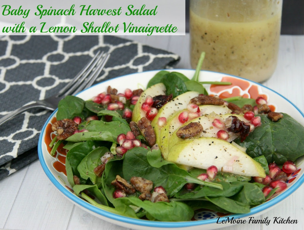 Baby Spinach Harvest Salad with a Lemon Shallot Vinaigrette | LeMoine Family Kitchen #salad #healthy #spinach #pear #pomegranate #fall #winter #cleaneating