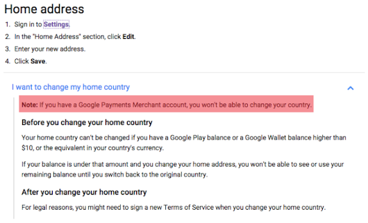 PSA: You Can Never Change Your Google Account's Country If It's Tied To A Merchant Account (Even If You Close The Latter)