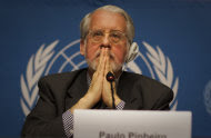 "Brazilian Paulo Sergio Pinheiro, who is mandated by the U.N. Human Rights Council to lead an international investigation of allegations of human rights abuses in Syria, gestures during a press conference at the United Nations headquarters in Geneva, Monday, Nov 28, 2011. Syrian troops have killed hundreds of children and committed other ""crimes against humanity"" since the government crackdown began in March, the U.N. probe said Monday. (AP Photo/Anja Niedringhaus)"