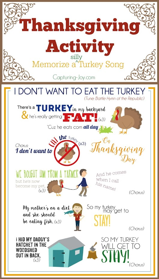 Thanksgiving Song ~ I Don't Want to Eat the Turkey