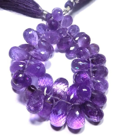 Natural Amethyst Handmade Faceted Teardrops Loose Beads