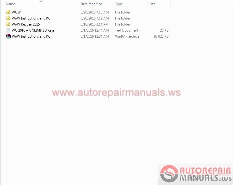 Free Auto Repair Manual : Wurth WoW 5.00.12 [2016] Full