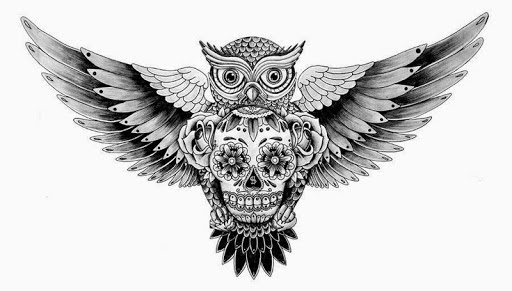 Open Wings Owl With Sugar Skull Tattoo Design