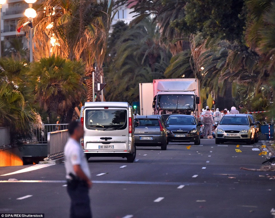 Aftermath: The scene on the attack on the Promenade de Anglais where the 31-year-old murderer hit as many people as he could before being killed in a shootout with police