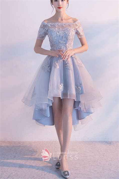 Light Blue Off the shoulder Lace and Organza Short Sleeve